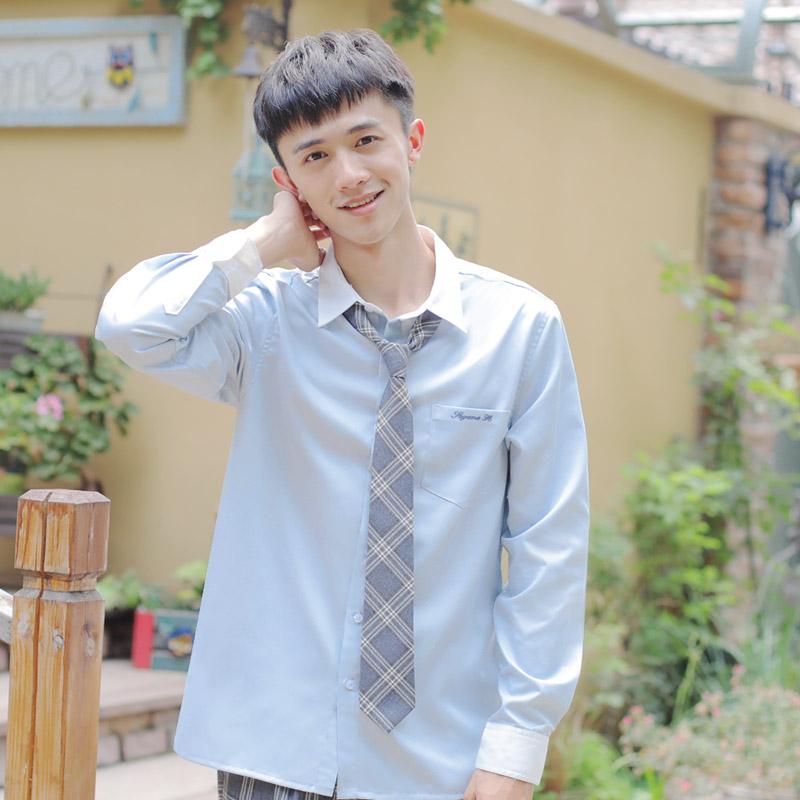松野女自高校生jk dk白领灰蓝色衬衫满89.00元可用1元优惠券