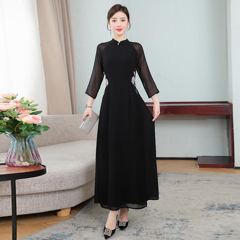 山有色2021新款中国风复古修身改良气质显瘦绣花旗袍奥黛连衣裙