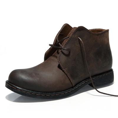 2020新品马丁靴男靴子军靴户外中帮工装沙漠靴男士高帮真皮短靴潮