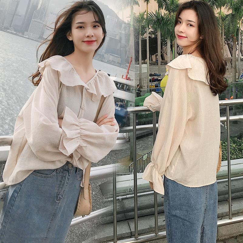 苏黛妮韩版新款荷叶边领上衣衬衫女8881P65控价128