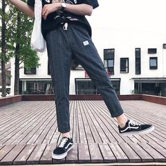 港风 夏季新款棉麻贴标格子九分裤大码休闲裤 B313-K36-P45 M-5XL