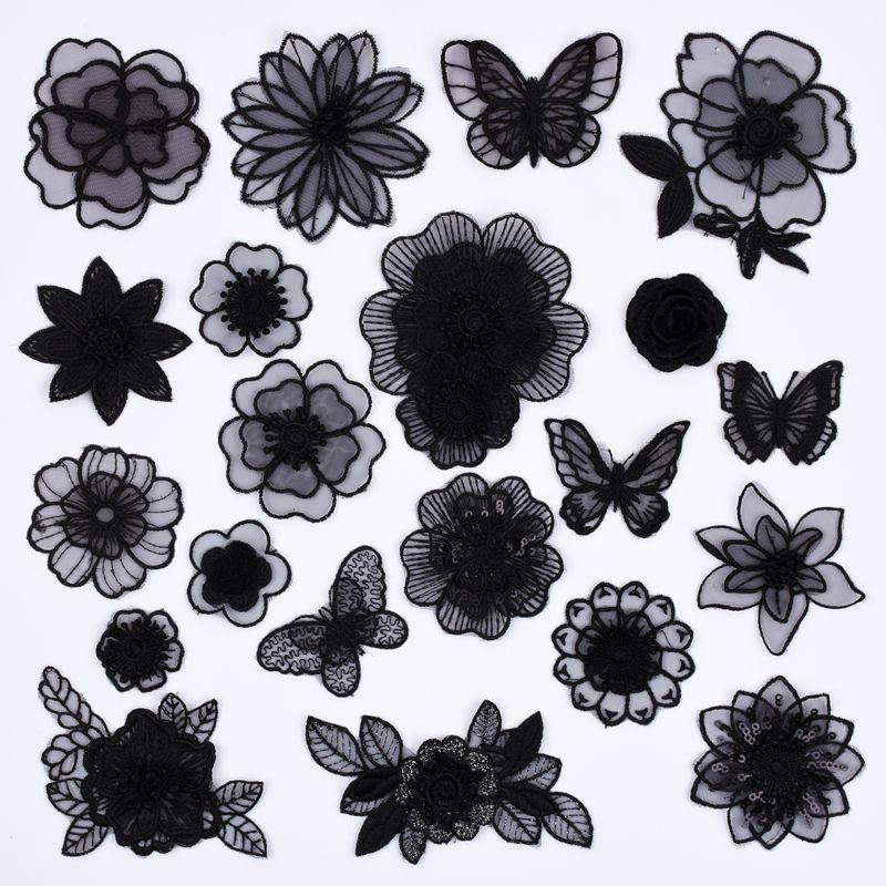 时尚黑白蝴蝶装饰贴花布贴修补丁贴刺绣网纱欧根纱DIY衣服蕾丝花