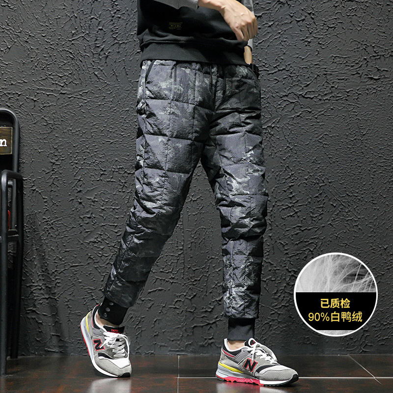 Winter pants mens Korean fashion camouflage down trousers mens cotton padded trousers thickened warm youth mens sports pants