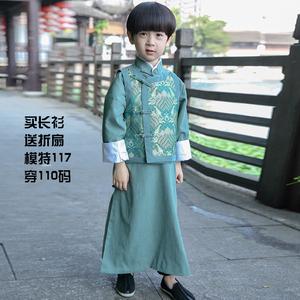 男儿童相声服大褂民国长衫长袍复古装童装唐装中国风演出服汉服