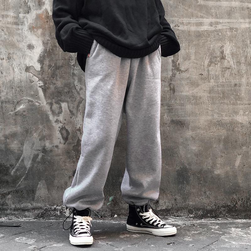 155-P45 灰色加绒运动卫裤 直筒宽松抽绳裤 男女B