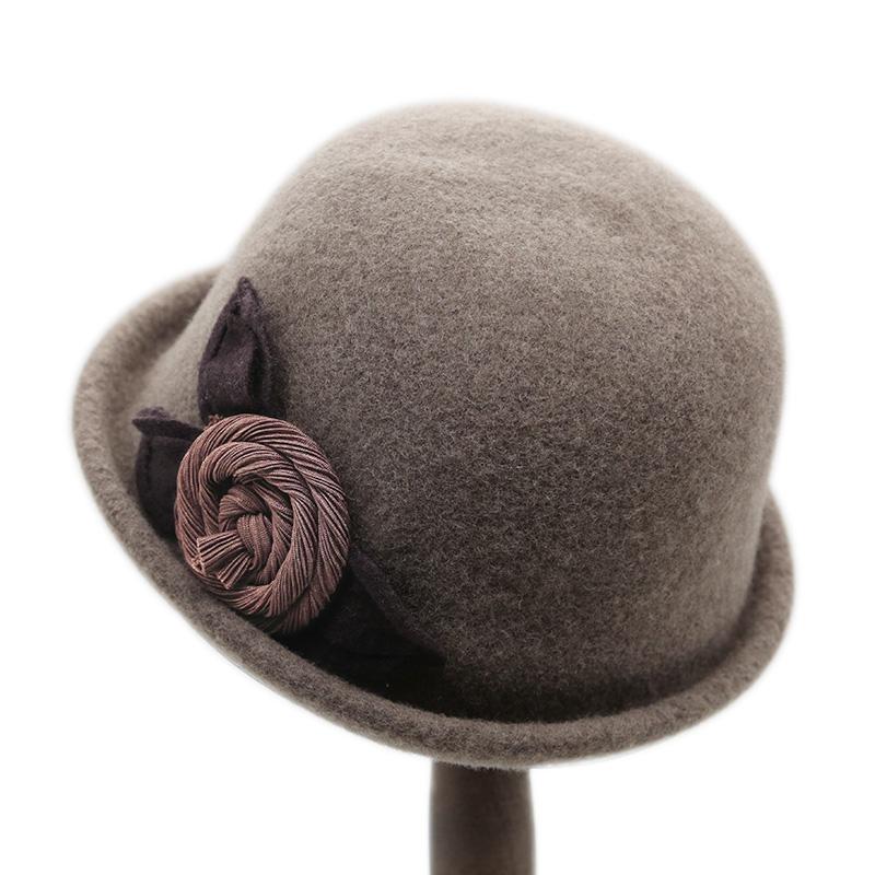 新款卷边小礼帽女英伦羊毛呢帽韩版百搭时尚帽子女秋冬复古礼帽女
