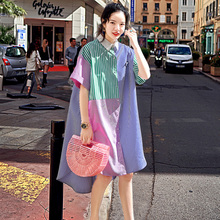 French school square collar with irregular stripes and short sleeve dress; women's front short back long side slit lining dress