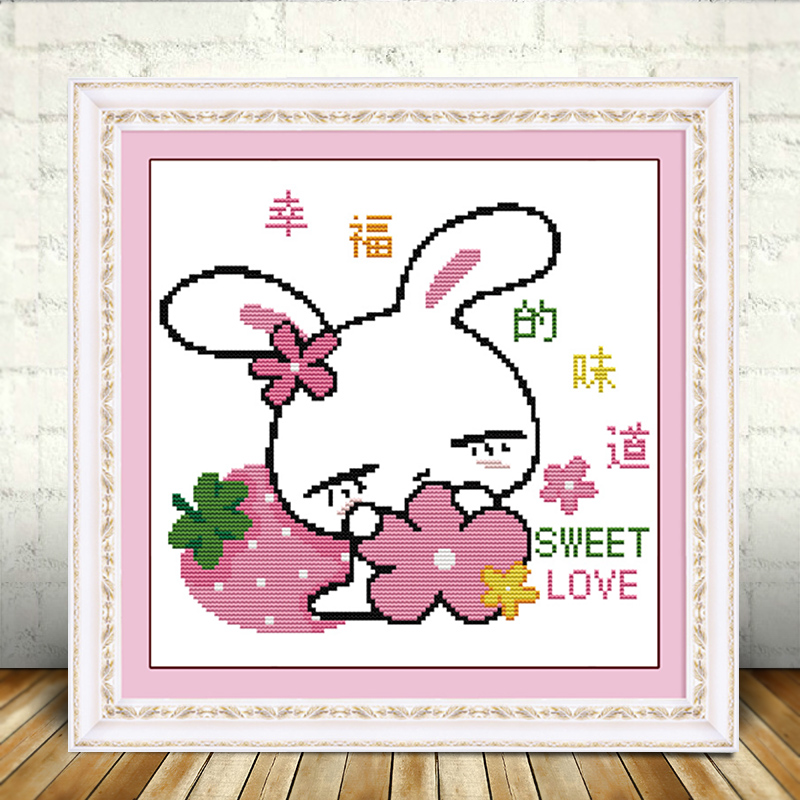 Cross stitch rabbit DIY students simple handmade small cartoon animal painting in childrens room fresh embroidery