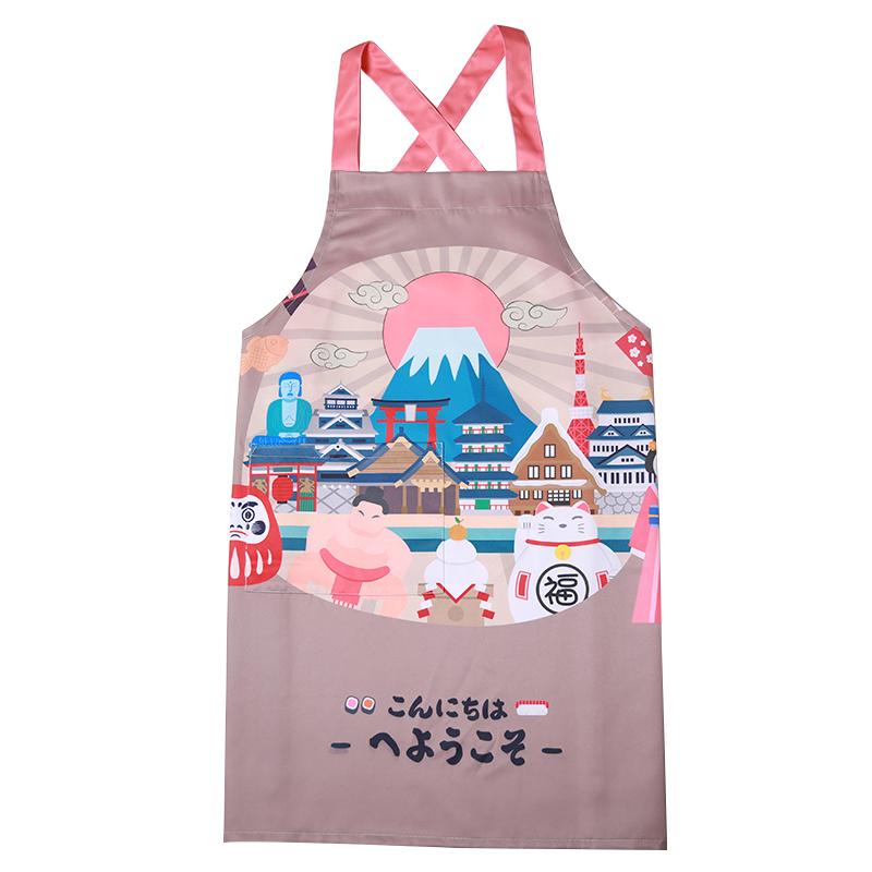 印花简约涤棉防水情侣无袖家居厨房烘焙围裙男女日本旅游纪念日式