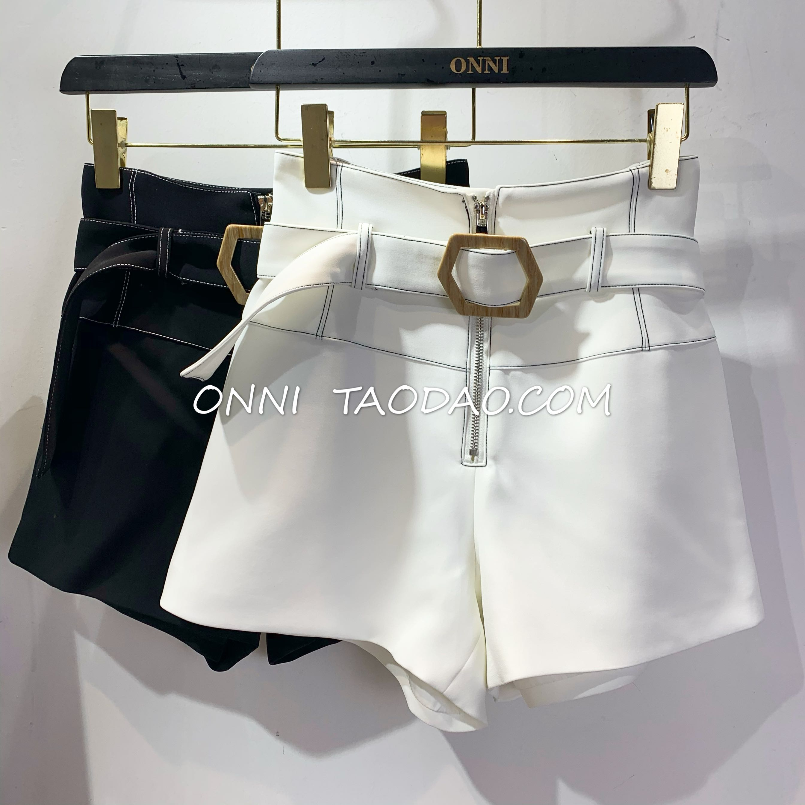 Onni black casual shorts womens 2020 new Korean version high waist thin hanging feeling wide leg pants loose a-word for external wear