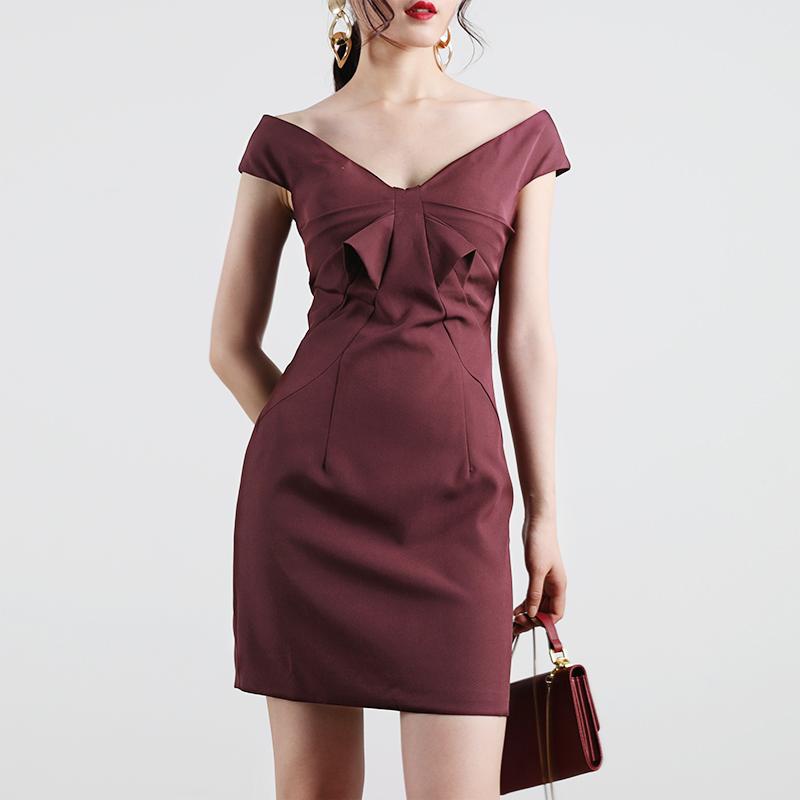 10月24日最新优惠TANSSHOP轻礼服裙2019新款露肩一字领蝴蝶结式分割包臀短裙连衣裙