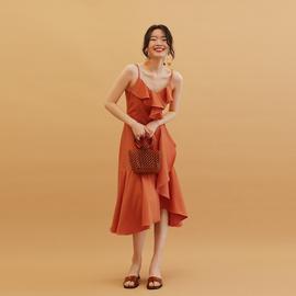 TANSSHOP热情橘色 两色显瘦吊带荷叶边中长裙纯色连衣裙裙子女