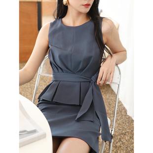 显瘦中裙连衣裙D702 5.5现货发售 修身 TANSSHOP 腰部绑带OL无袖