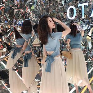 輕熟氣質性感露腰T恤御姐套裝女2019新款夏季歐根紗半身裙兩件套