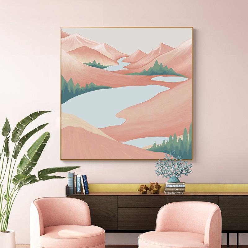 简约轻奢风景画样板间客厅装饰画