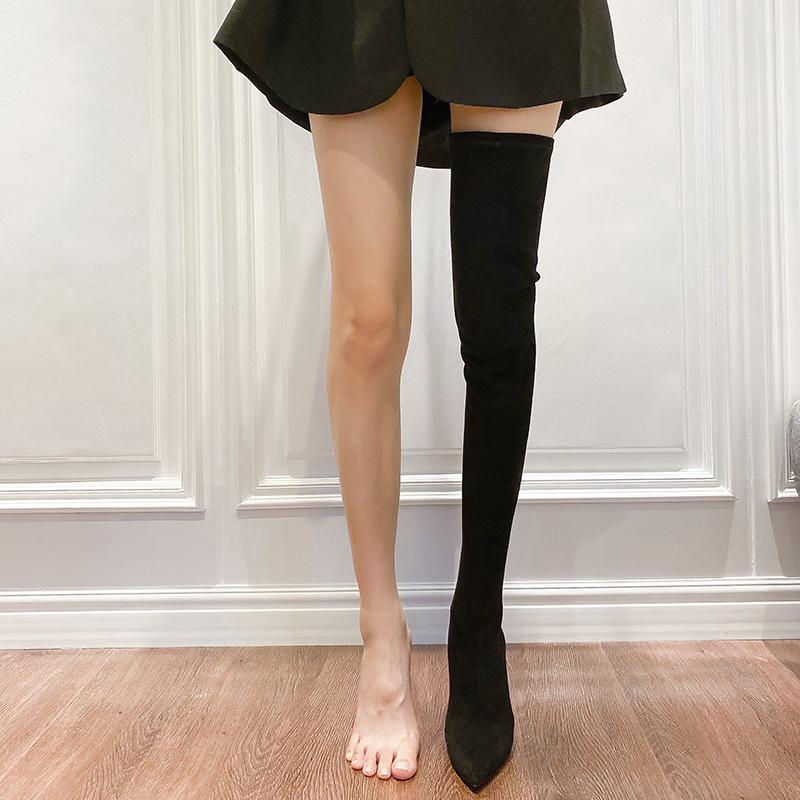 弹力粗跟瘦腿过膝长靴女2020新款冬加绒袜子靴尖头高跟高筒长筒靴