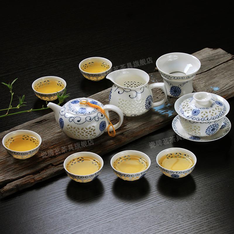 瓷牌茗景德鎮青花瓷玲瓏茶具套裝蜂窩鏤空陶瓷功夫茶具茶壺茶杯海