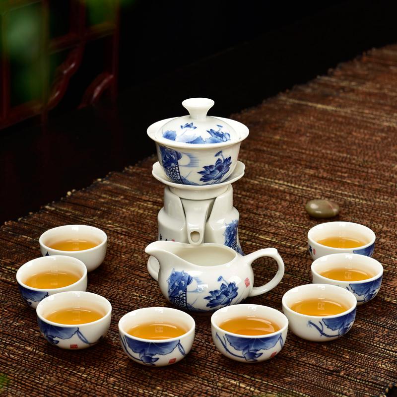 小康泡半自動茶具青花瓷陶瓷功夫茶具套裝 懶人泡茶器防燙茶壺