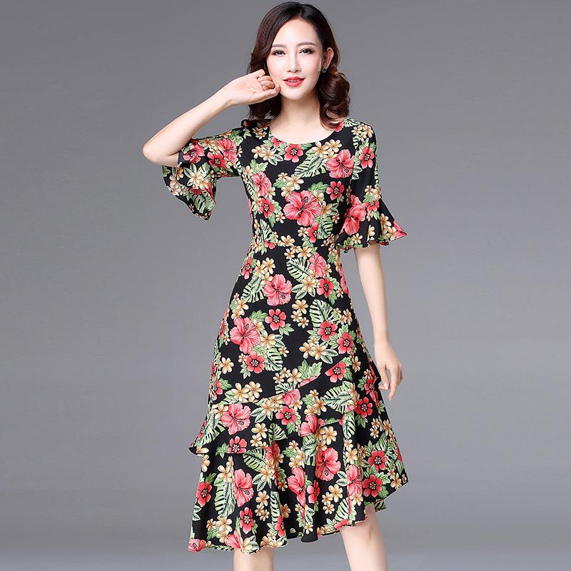 连衣裙夏 印花不规则显瘦喇叭袖荷叶边碎花中长裙雪纺时尚连衣裙