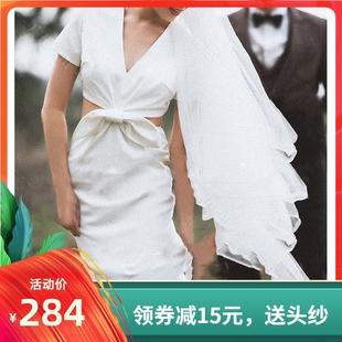 法式輕婚紗2019新款復古簡約緞面新娘森系旅拍魚尾婚紗出門紗顯瘦