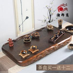 花梨黑檀木整块实木茶盘家用功夫茶具套装排水茶台茶海长方形简约