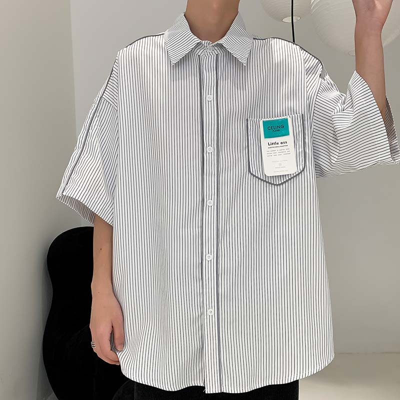 2021夏季3条纹男士短袖衬衣宽松时尚潮流 215-1 2119 P45