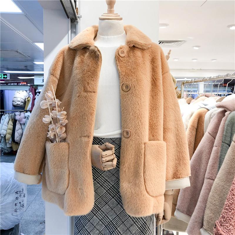 2018秋冬新款仿水貂绒皮毛一体毛绒外套女宽松中长款chic短款外套
