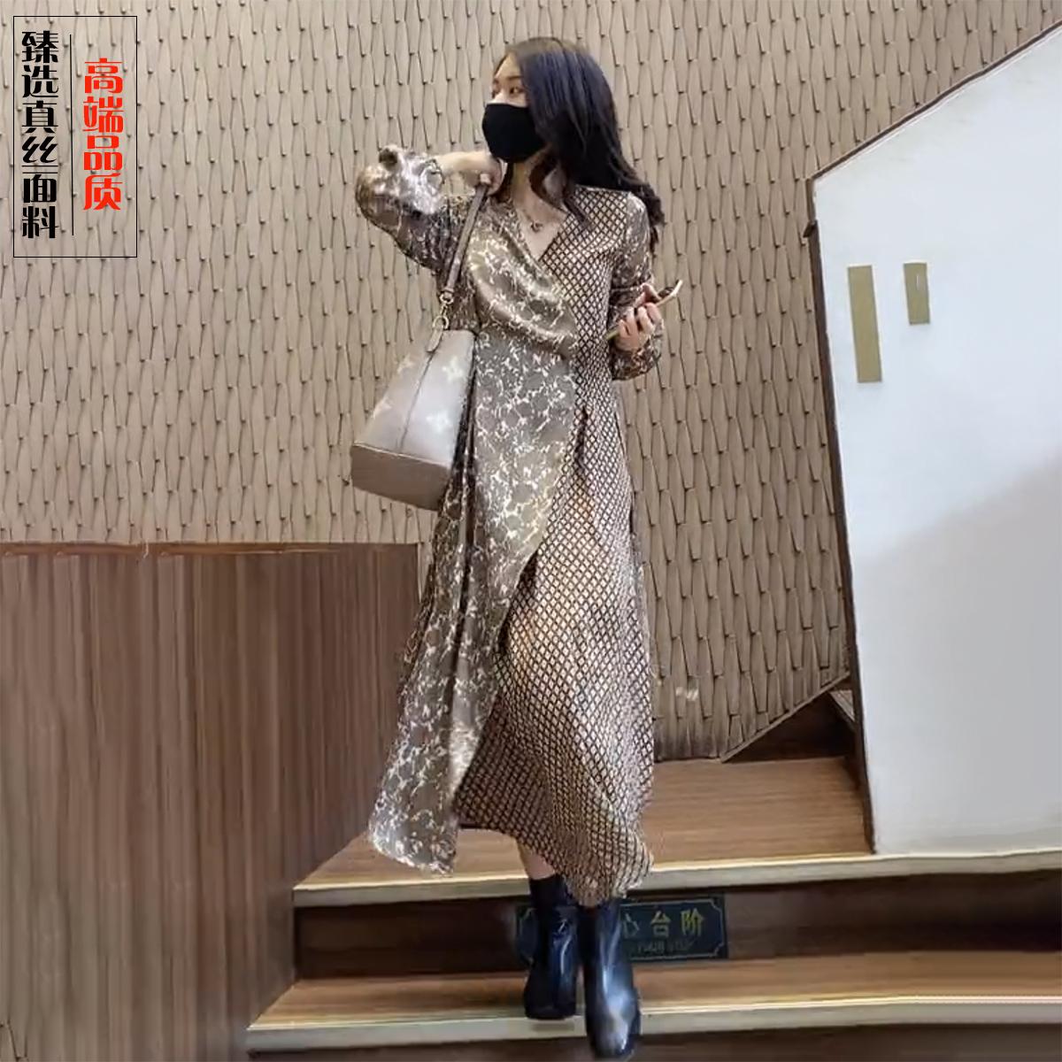 高端桑蚕丝香云纱连衣裙女2021秋季新款气质显瘦印花重磅真丝长裙