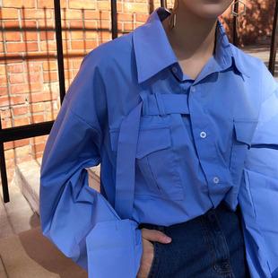 打底衫 女士衬衣上衣不规则个性 2020春ootd女装 学生宽松设计师衬衫