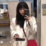 灯芯绒西装外套女2020春季新款宽松白色中长款西服韩版chic上衣潮