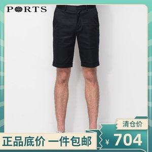 PORTS宝姿特价折扣清仓春夏新品男装修身五分裤短裤MW8P206PWD052