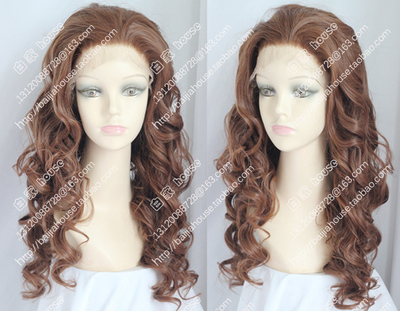 taobao agent Front lace hair net wig, honey brown big wavy long curly hair, water pattern curls, European and American fashion female wig