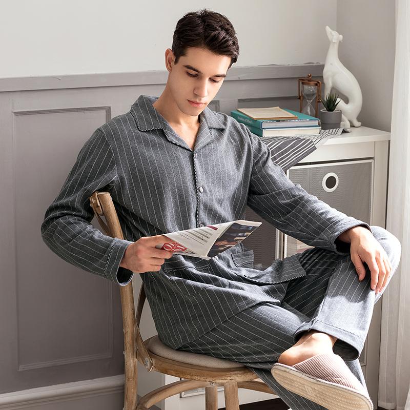 11月08日最新优惠芬腾秋冬纯棉简约开衫条纹长袖睡衣