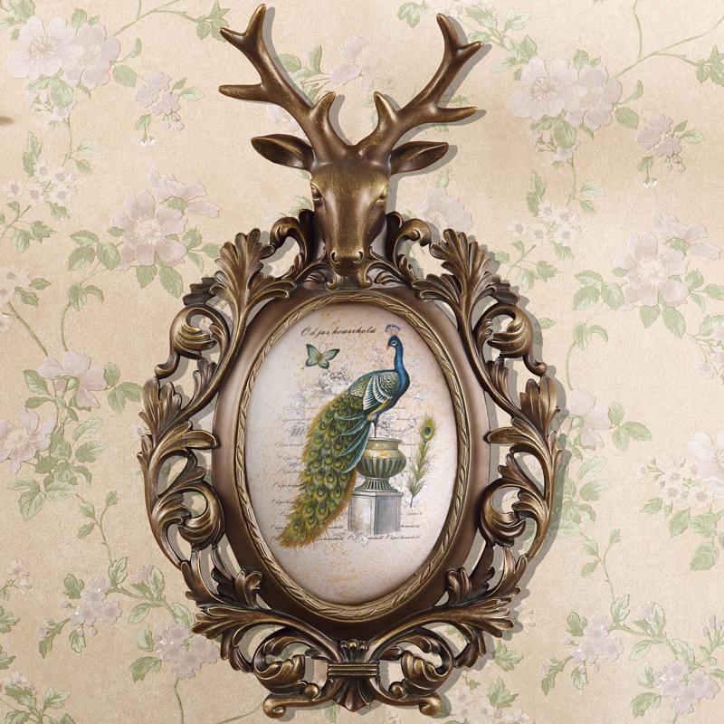 复古鹿头鸟画壁挂