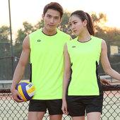 中健透气排球服套装男田径比赛训练服女羽毛球运动队服定制夏季