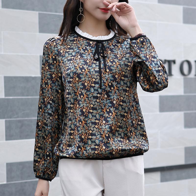 10月12日最新优惠真丝衬衫女2019新款春杭州长袖高端飘带丝绸娃娃领重磅桑蚕丝上衣