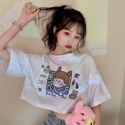 2020夏季新款韩版露脐装百搭显瘦上衣短款宽松可爱卡通印花T恤女