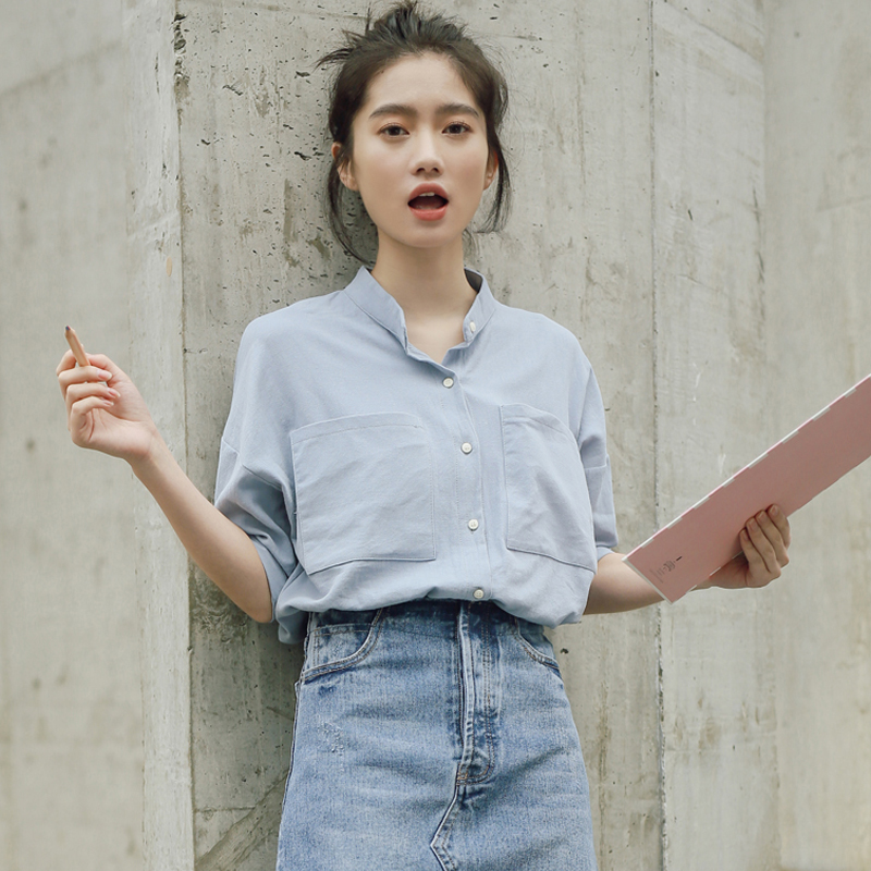 韩范宽松学生衬衫女夏短袖2018夏季新款韩版学院风上衣立领衬衣