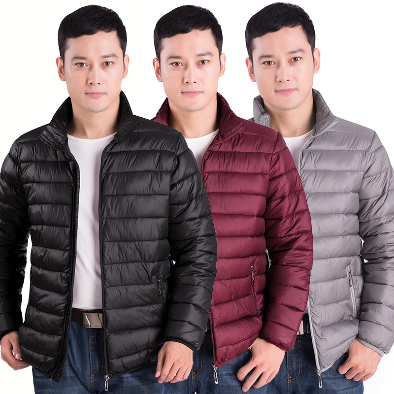 Autumn and winter youth mens light down cotton padded clothes casual coat middle aged mens cotton clothes large winter mens top