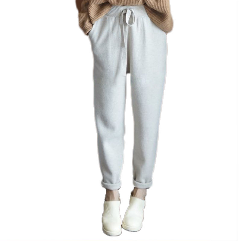 2019 new cashmere pants womens loose sports knitting pants autumn winter small foot wool casual handsome pants