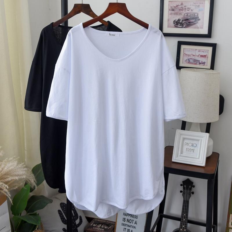 大版胖人白色t恤女短袖纯棉纯色基础款体恤中长款V领加肥大码半袖