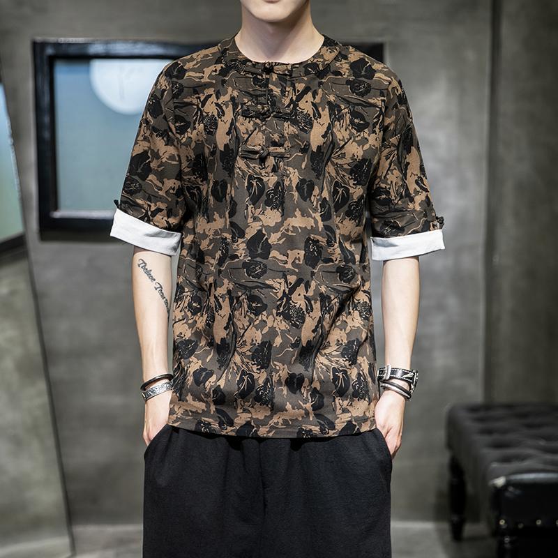中国风花T恤男短袖盘扣上衣大码宽松唐装青年圆领t恤TX08P45控68