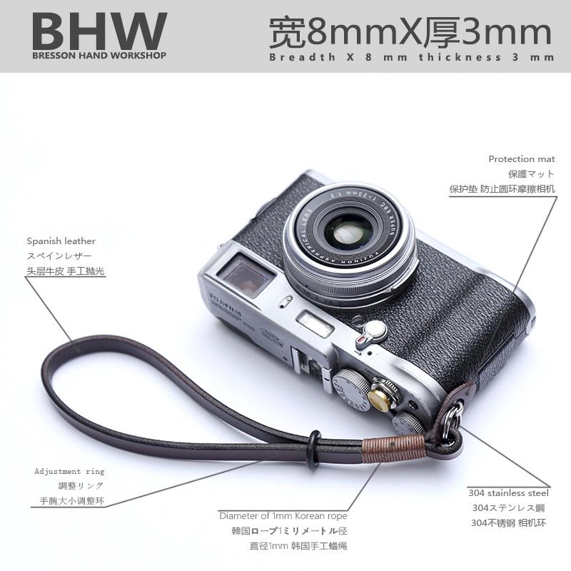 BHW法国8mm宽手工制作相机腕带微单真皮手挂绳单反牛皮手绳包邮