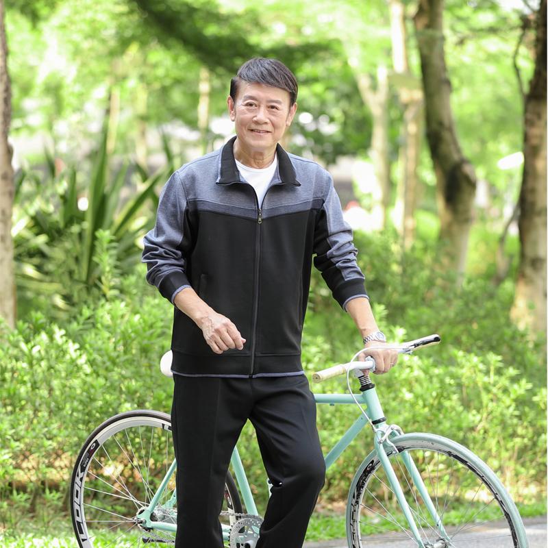 中老年运动套装男春秋季三件套爸爸装休闲跑步运动服大码开衫套装