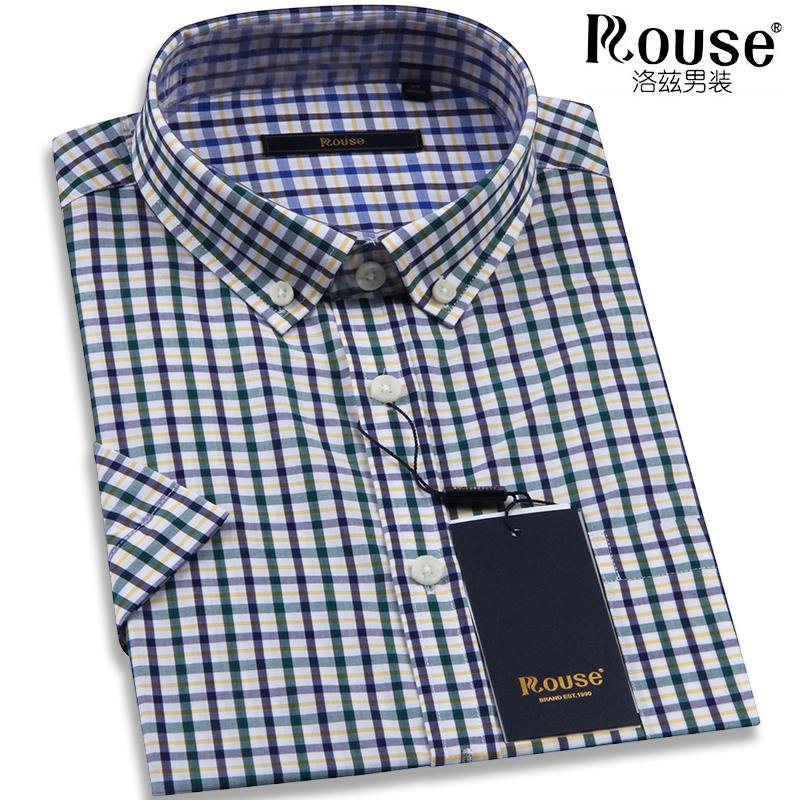 洛兹衬衣简约竹纤维舒适短袖衬衫夏季半袖男士青年格子休闲爸爸装