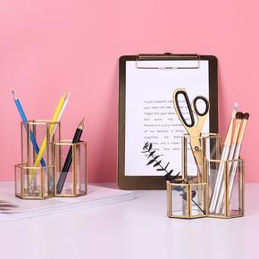 Подставки для канцелярии,  Стекло сочетание пенал нордический ins стиль золотой рабочий стол хранение баррель творческий свет экстравагантный украшение в коробку, цена 541 руб