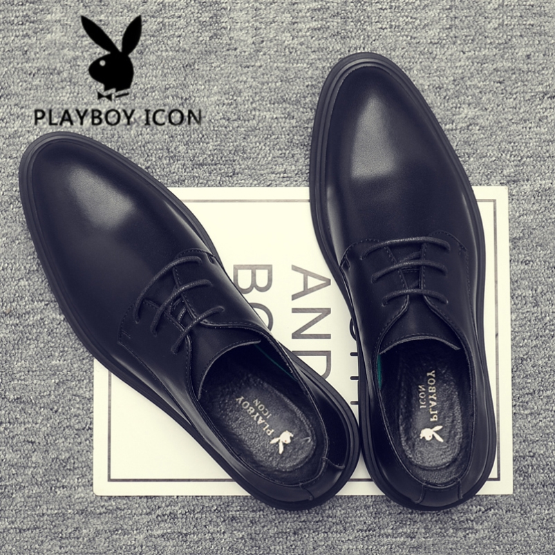 Playboy mens shoes business suit spring leather shoes mens British genuine leather Korean mens inner height casual shoes