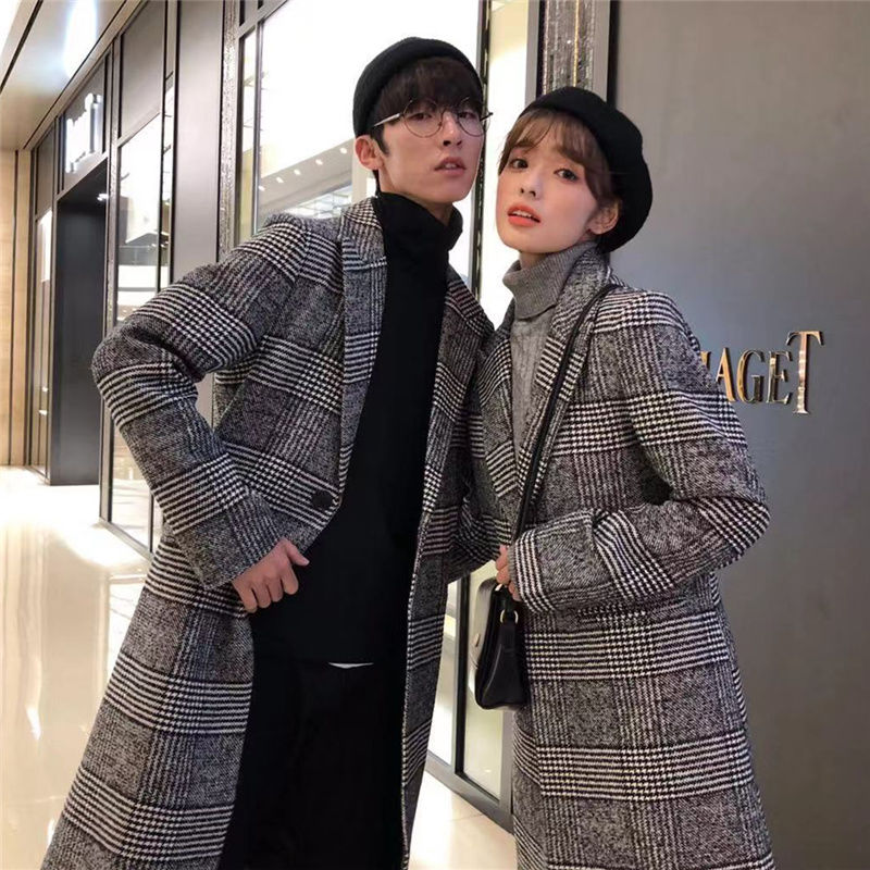 ㊣ thickened over the knee medium length lovers woolen coat Korean fashion mens Nizi windbreaker coat slim autumn and winter