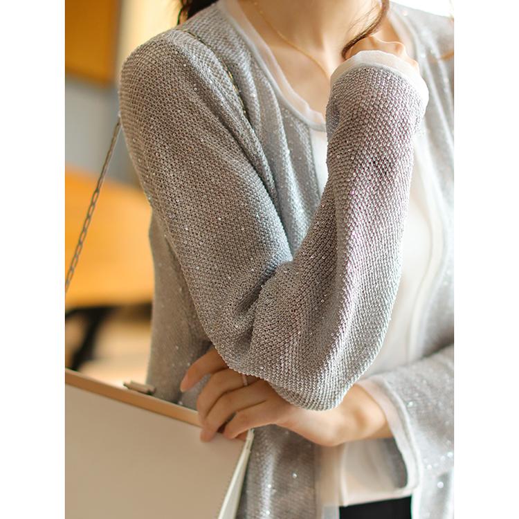 美到发光,低调的小华丽!银灰针织长袖开衫圆针织衫E12192