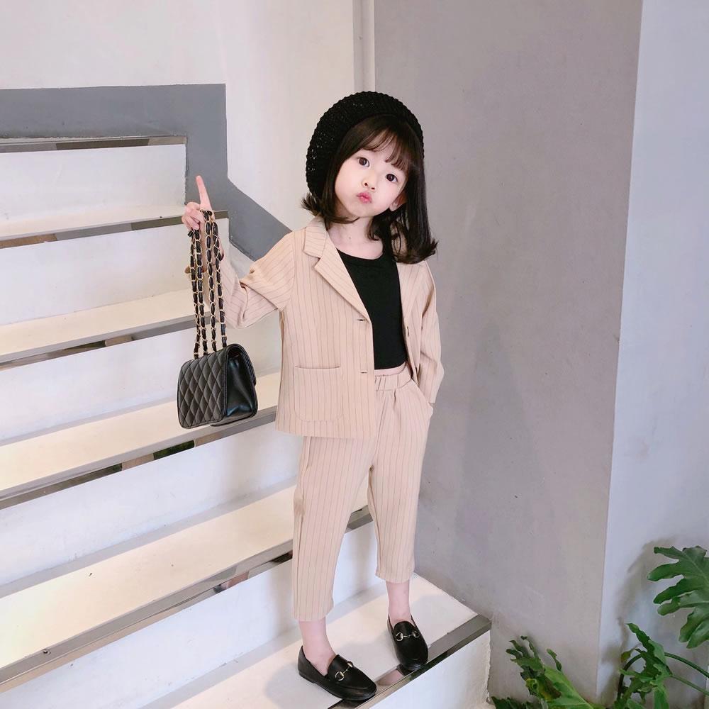 女童西裝套裝洋氣時尚走秀男童女寶寶西服花童英倫韓版兒童小禮服